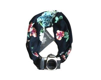Navy Floral Print Camera Strap with Lens Cap Pocket -  The Original Camera Scarf Strap With Hidden Pocket