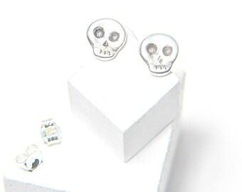 Small Skull Stud Earrings in Sterling Silver