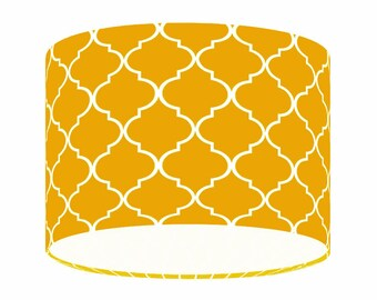 Mustard Yellow Moroccan Lamp Shade, Contemporary Quatrefoil, Fabric,  Lighting, Home Decor,