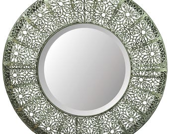 "Lulu Decor, Lacy Round Silver Metal Beveled Wall Mirror 19"" (Lacy Round)- Free Shipping"