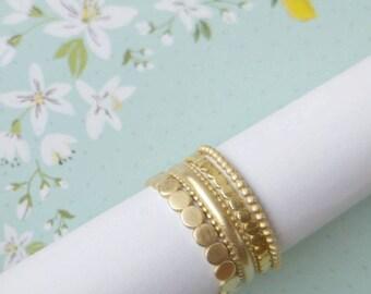 Gold stacking rings set, 14K gold ring set, thin gold stacking rings for women, Four rings stackable set, wedding ring set
