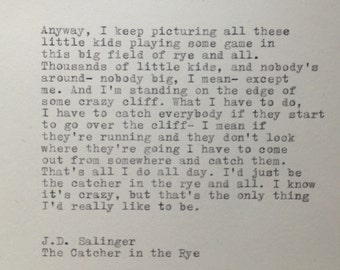 The Catcher in the Rye Quote Typed on Typewriter