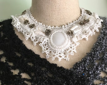 Winter White  Necklace, Hand Beaded Collar Necklace, Statement Necklace, Bridal Jewelry, White Lace Necklace With Floral Accents.