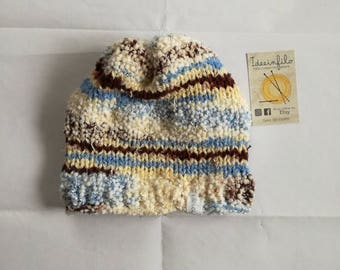 Light blue and brown Winter hat