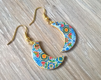 Crescent moon tile earrings, Mexican tiles, crescent moon jewelry, Talavera jewelry, moon phase jewelry, Mexican jewelry, wedding gift