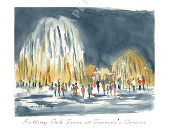 Toomer's Corner Watercolor Note Card Set-  Auburn stationery, Thank you notes