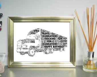 Truck,  Personalised Word Art Print, FREE UK P&P.