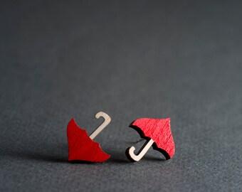 Umbrella Earrings, Cute Earrings, Whimsical Earrings, Red