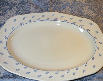 Vintage Art Deco Alfred Meakin Van Dyck Ware Deanna Pattern Charger Plate Cream and Blue