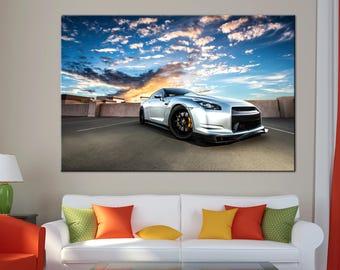 Nissan GT-R on sunset Canvas Print wall art canvas print Nissan GT-R sport car Wall Split Art Multi Panel Multi-Sized Canvas print