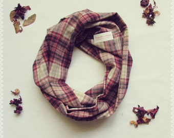 Plaid Loop Scarf in Cabin Fever - Autumn, Fall, Soft Maroon Plaid Infinity Scarf, Perfect Gift and Fall Fashion Accessory