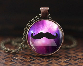 Hipster Mustache Necklace, Hipster men's Jewelry, mustache pendant, mustache jewelry, space galaxy nebula Mustache Necklace