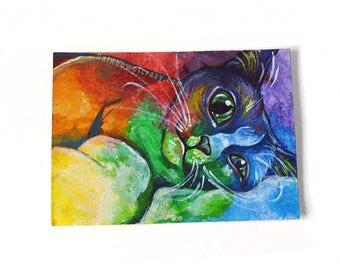 Cat Painting, Rainbow Art, ACEO Original, Pet Portrait, Cat Owner, Colorful Artwork, Baby Animal Nursery Decor, Cute Gift, Pet Loss
