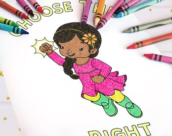 Choose The Right Coloring Page- Girl