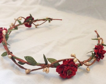 Wedding headband flower circlet red rose leaf and berry tiara bridal hair accessories