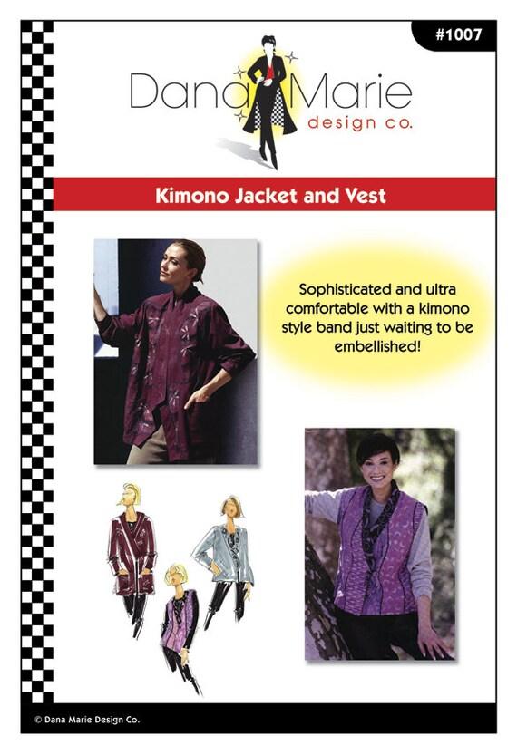 Kimono-Jacke und Weste einfache Schnittmuster Multi Größe