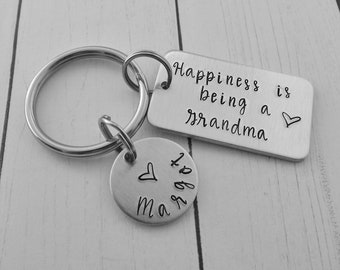 Happiness is being a Grandma - Grandmother Gift - Personalized Custom Hand Stamped Keychain - Gift for Grandma - Mother's Day Present