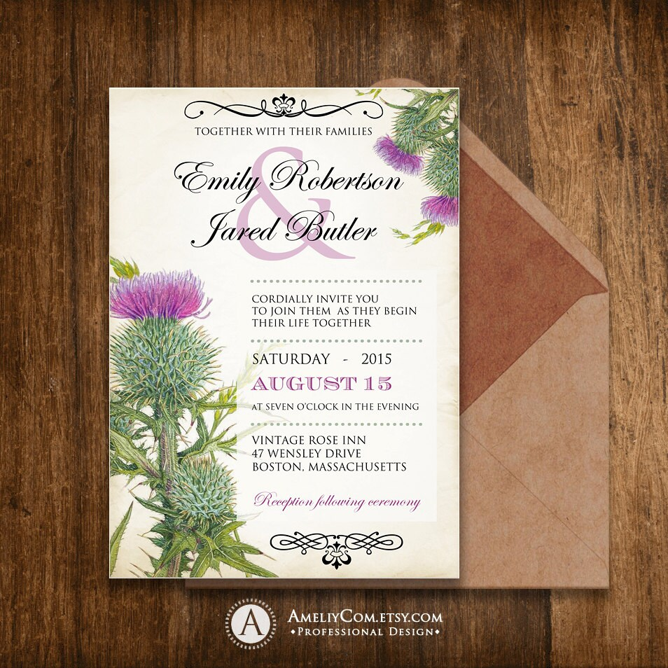Printable Wedding Invitation Invite Rustic Weddings Vintage