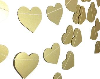 Party Decorations - Wedding Decor - Valentine's Day Garland - Heart Decorations- Gold Garland - Gold Heart Garland - Heart Garland - 10 Feet