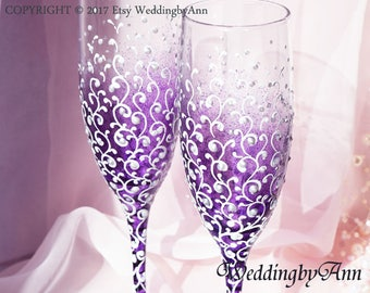 Purple Wedding Glasses, Purple Wedding, Wedding Champagne Flutes, Bride And Groom, Personalized Toasting Flutes, Wedding gift