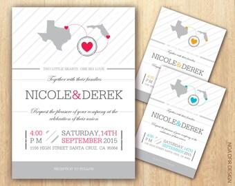 State Wedding Invitation, Map Wedding Invitation, State Invite, Map Invite, Printable Wedding Invitation, DIY Wedding Invitation, State Map