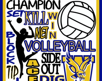 Volleyball Print - custom volleyball poster - Volleyball team gift - Volleyball poster - school volleyball sign - high school, college, yout