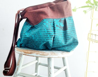 Teal Bird Bag - Hand Printed - 6 Pockets - Adjustable Strap