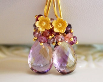 Ametrine Gemstone Earrings Gold Bridal Jewelry Purple Plum Genuine Stones Fall Wedding - Plumeria Blossom - Free Shipping