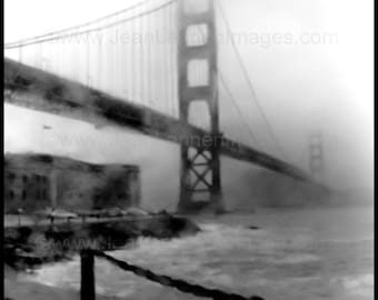 The Foggy Bridge - San Francisco Golden Gate Bridge - Archival Print - Creepy Stormy Spooky Dark Gothic - By Jean Lannen The Other Jeanie