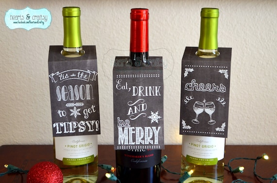 Items Similar To Christmas Holiday Chalkboard Style Wine