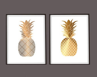 Custom for Heather Set of 2 Shades of Gold Pineapples  11x14