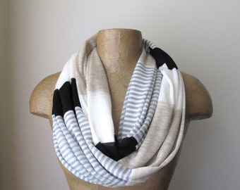 STRIPED Infinity Scarf, Lightweight Spring Scarf, Summer Scarf, Black White Gray Tan, Color Block Tube Scarf, Colorblock Striped Scarf