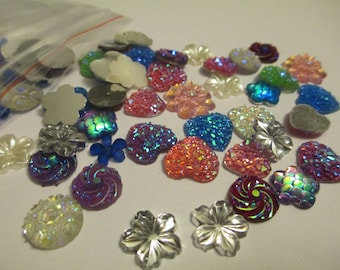 40+ Mixed Flat Back Resin Buttons Flowers Hearts Scrapbook Jewelry Making Supplies Jenuine Crafts