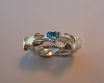 Sterling or Gold Claddagh Three Band Puzzle Ring with Blue Topaz Heart