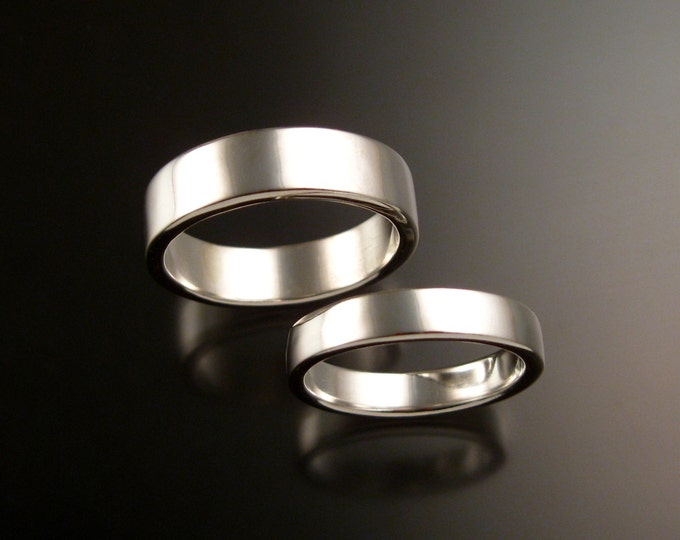 14k White Gold Rectangular Wedding bands His and Hers two ring set bright finish rings made to order in your size