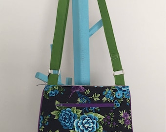 Trail Tote Cross Body Bag - Blue and Purple Floral