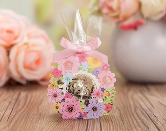 Flower Party Favor Box. Wedding. Pink. Purple. Spring. Candy. Gift. Birthday.