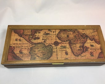 Jewellery box etsy vintage 1960s 1970s wooden jewelry box or mens tie pin box with world map on gumiabroncs Choice Image