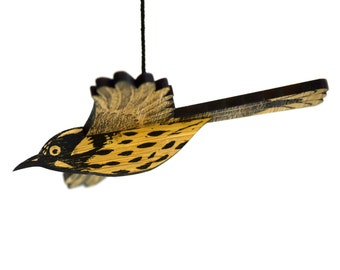 New Holland Honeyeater Mobile, Hand Printed Wooden Lino Printed Hanging Bird, Australian Bird,