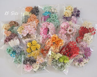 15 Sets of Mixed Paper Flowers Scrapbooks Wedding Faux Cards Dolls Crafts Cottage Roses Lily Leave Assortment Colors SetA - FREE SHIPPING