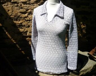 seventies French, (Paris)  mesh shirt/blouse