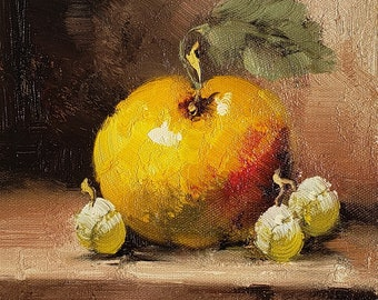 Fruit, Apple- #4,  8x10  100% Hand Painted  Oil Painting on Canvas,