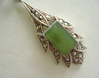 Sterling Silver Pendant and Chain ChalcedonyVintage