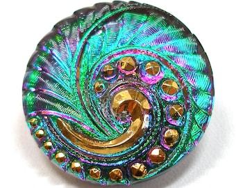 """Peacock Czech glass BUTTON, Emerald green & purple pink swirl, 27mm, 1""""."""