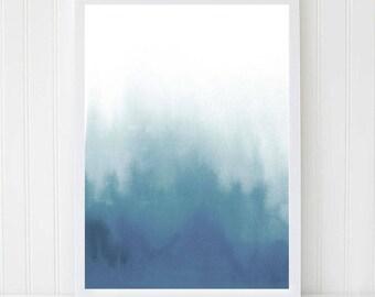 Abstract Painting, Navy Blue Watercolor, Modern Painting, Sea Poster, Marine Wall Art, Sea Print, Watercolor Art, Minimalist Print. Blue Art