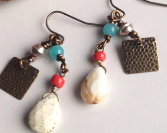 Tribal Earrings, Lemon Chrysoprase, Angelite Beads, Antiques Brass
