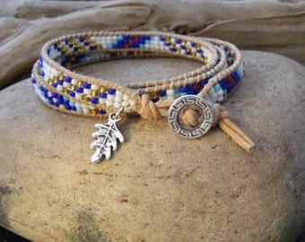 Triple wrap beaded bracelet