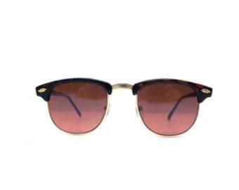 vintage 90s sunglasses NOS clubmaster sun glasses gold metal tortoise shell sunglasses women eyewear mens vintage sunglasses