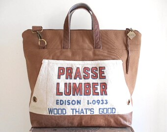 Canvas, cognac leather carryall, tote bag - vintage Prasse Lumber Cleveland Ohio- eco vintage fabrics