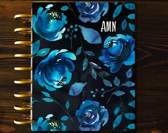 Blue Floral Planner COVER, Happy Planner Covers, Disc Bound, Recollections, Custom ECLP Cover, Mini Happy Planner Cover, Laminated Covers